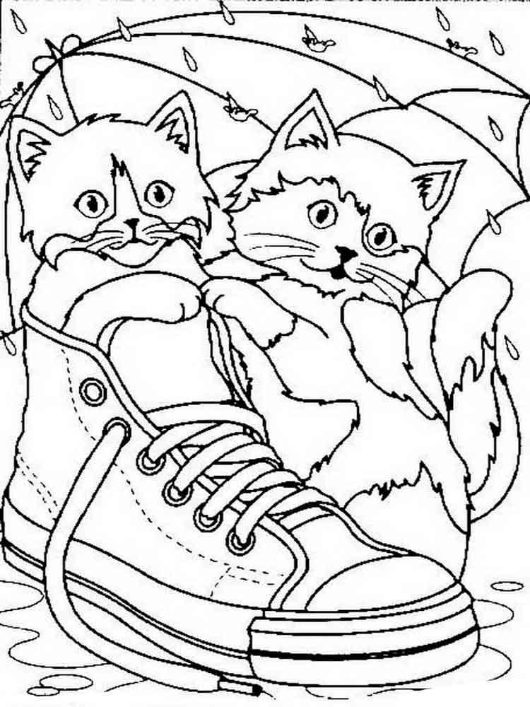 Распечатать раскраску кошка с котятами 5