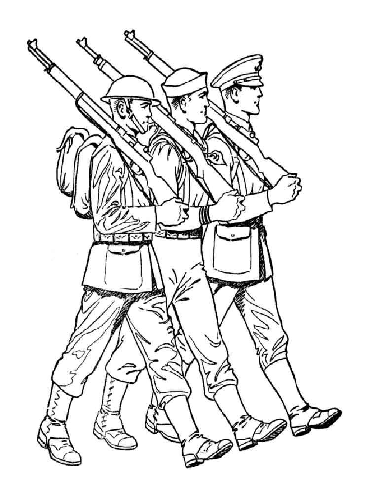 Красная армия раскраски