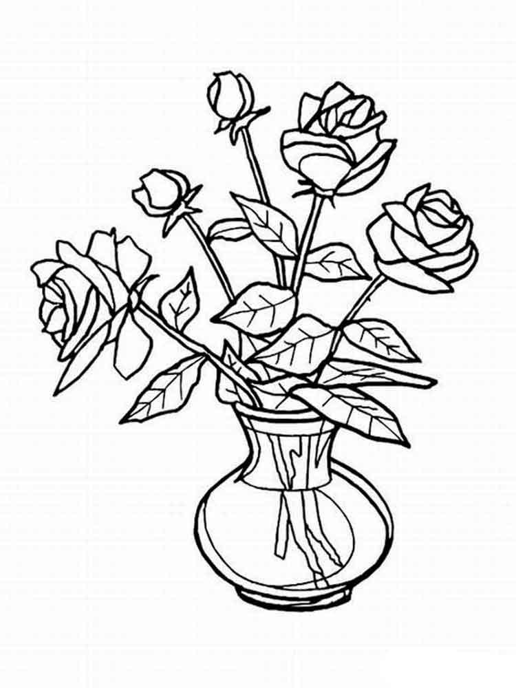 Рисунки цветов в вазе розы