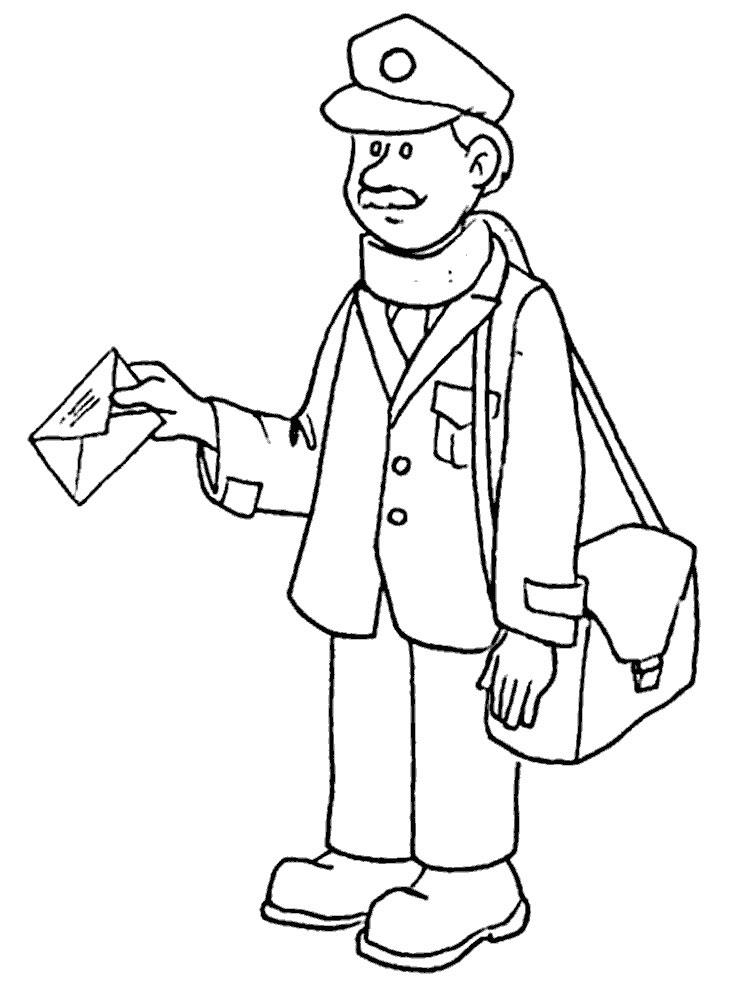 Картинка почтальона раскраска