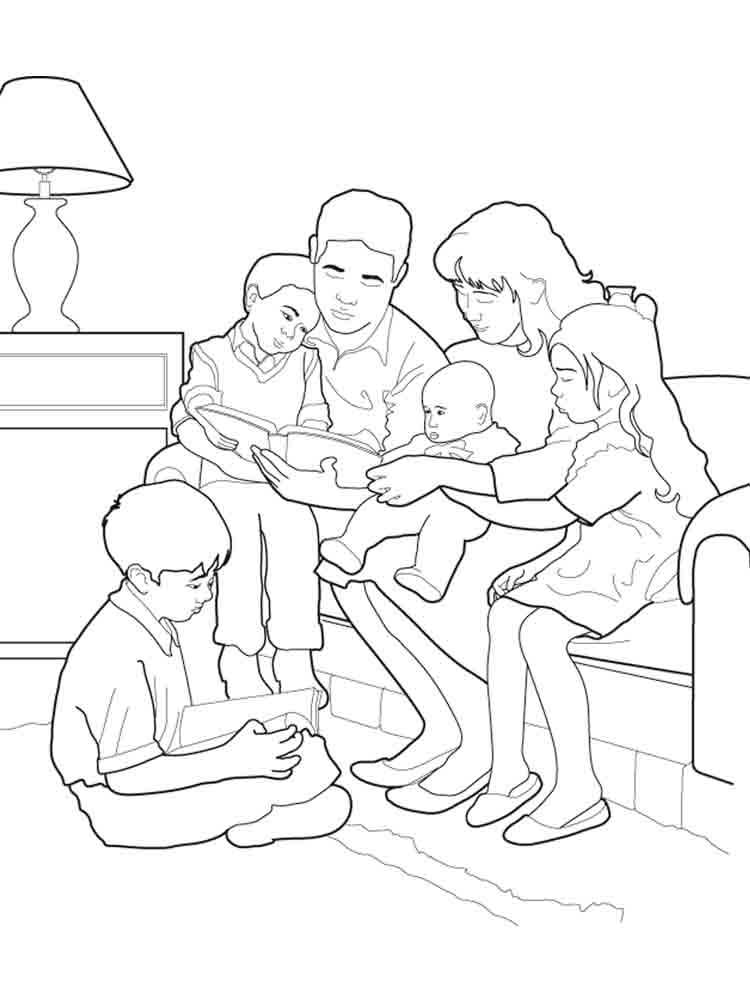 Coloring Page Family Praying Together