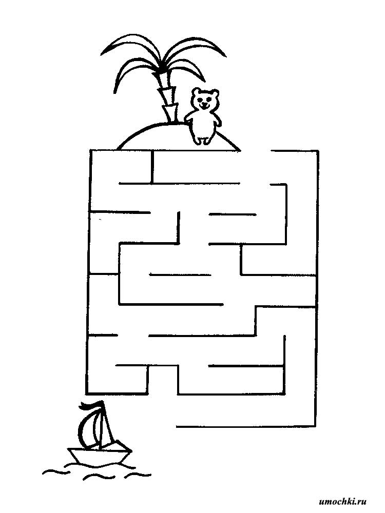 Лабиринт простой картинки для детей распечатать