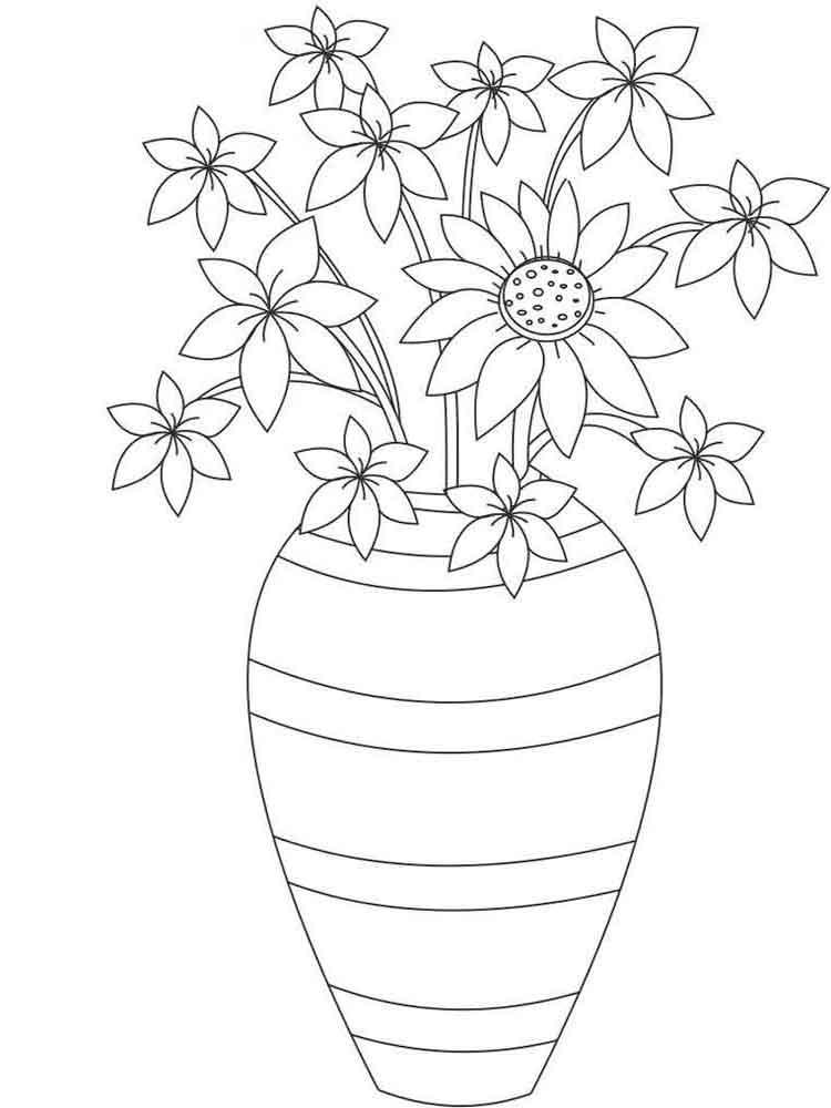 Картинки для, картинка цветы в вазе раскраска