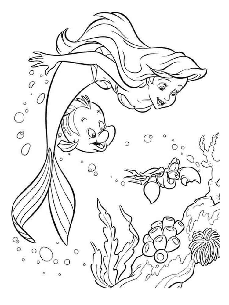 раскраски русалочка ариэль скачать и распечатать раскраски