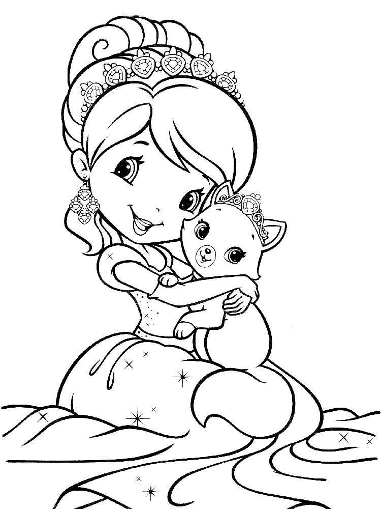 Картинки принцессы для разукрашивания