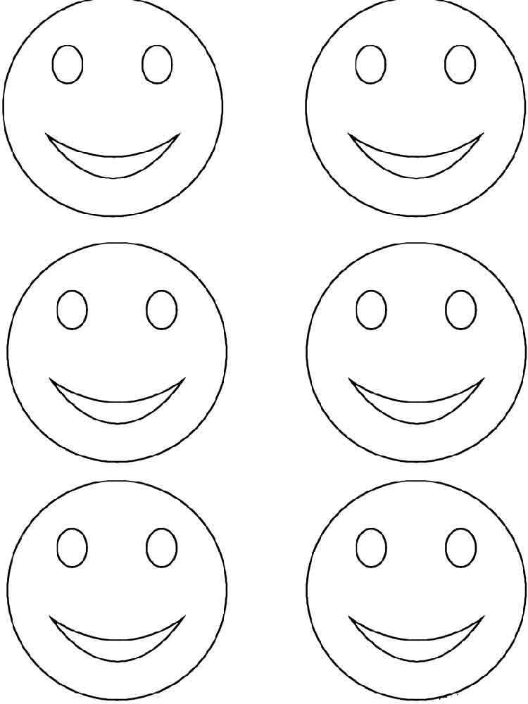 Смайлик улыбка раскраска четыре на одном листе немного